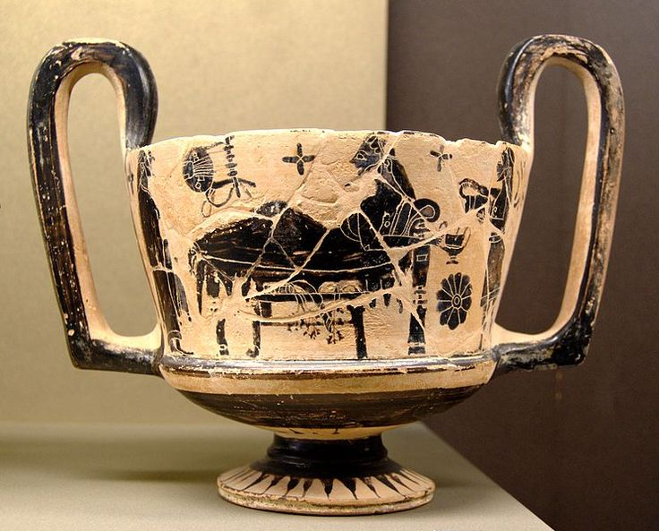 Kantharos a figure nere (dalla Beozia) ca. 560 a.C. Museo del Louvre, Parigi. Kantharos a figure nere (dalla Beozia) ca. 560 a.C. Museo del Louvre, Parigi.