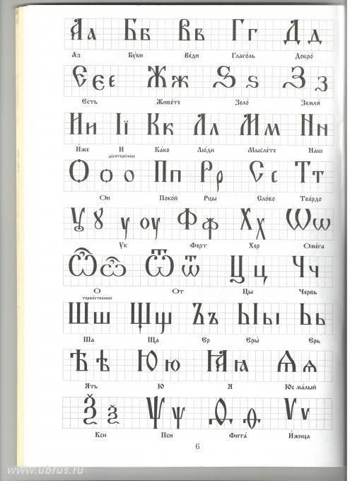 This is a real Russian alphabet, which sas systematically destroyed, first by the Greeks Cyril and Methodius, and then by Peter the Great and then the Bolsheviks from 49 to 33 letters.
