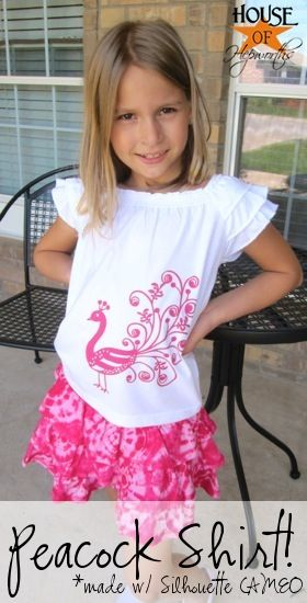 Heat transfer paper from Silhouette -- I could do that!  Love the peacock!