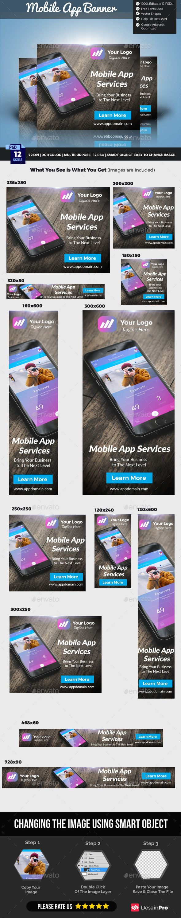 12 Standard Web Ad Mobile Apps Sizes Template PSD