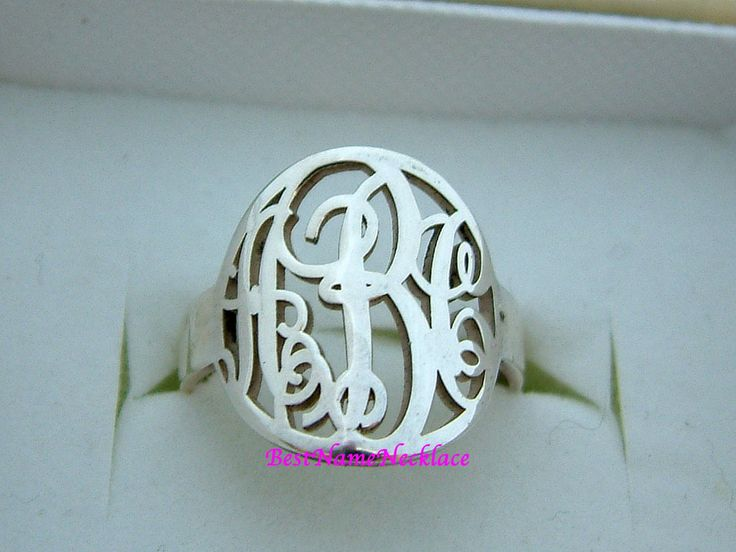 Personalized Silver Monogram Ring on framestr.com