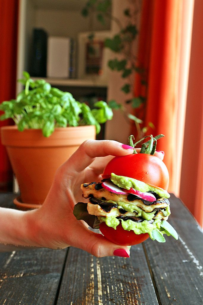 Simple Veggie burger recipe - The Tomatoburger Served with Guacamole and Grilled Halloumi