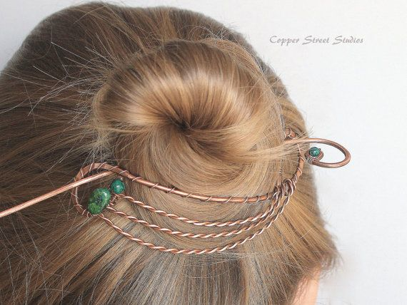 Hair Clip Bun Holder Copper Hair Brooch by CopperStreetStudios