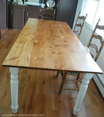DIY dinner table - looks awesome and seats 8! love this look, too!