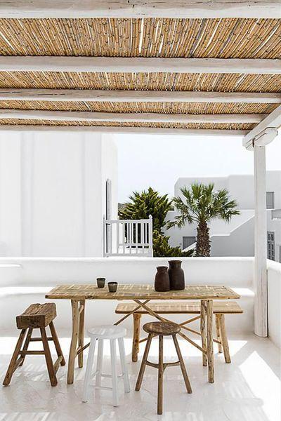Idée d'aménagement de terrasse repérée à l'hôtel San Giorgio de Mykonos