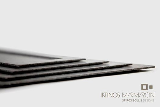 Scotia Trays made out of Silver Creta Marble, designed by Spiros Soulis for Iktinos Marmaron.