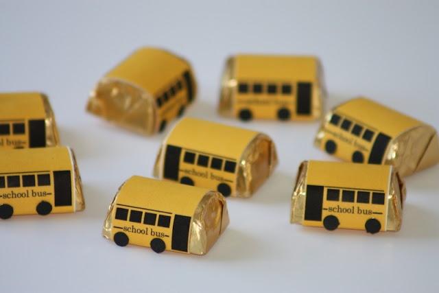 """Hershey Nugget School Bus treats (printable available) would be cute favor at """"Back to School"""" party"""
