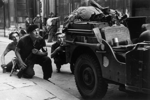 French resistance fighters in Paris, the same day of the Allied liberation of the city - 25 August 1944    Photo by Robert Capa