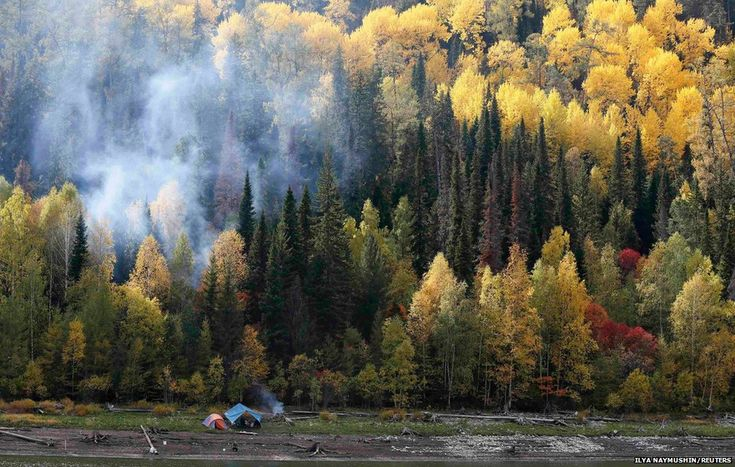 A fishermen's camp is seen on a bank of the Yenisei River in Siberia