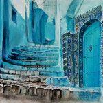 """""""Шефшауэн. Синий город 2"""" акварель, гуашь, пастель. 40x50см. 2017г. """"Chefchaouen. Blue city 2"""" watercolor, gouache, pastel."""