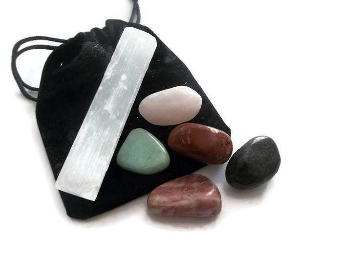 6 pcs Gemstone Healing Crystals & Stone Lot Selenite Crystal Magic Set