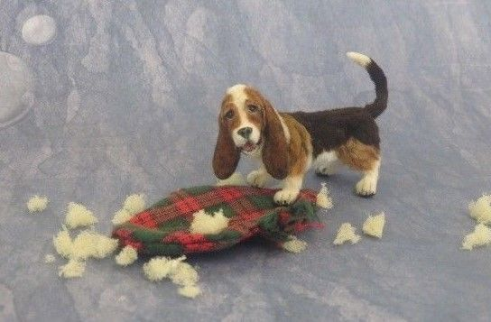 OOAK Dollhouse Miniature 1:12 scale Basset Hound