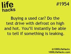 This is a great way to ensure the #car you're #buying is working properly!