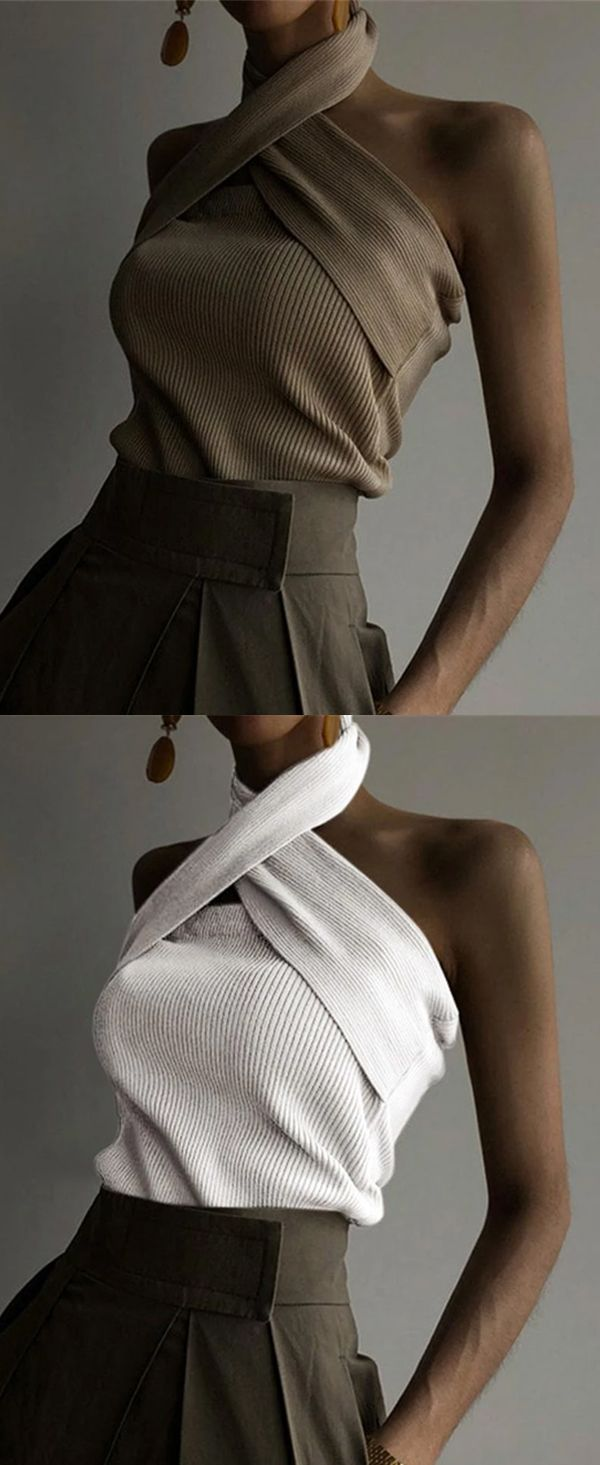 【US$29.99】Women's Casual Backless Knit Top  #KnitTops #FallTops #SleevelessT…