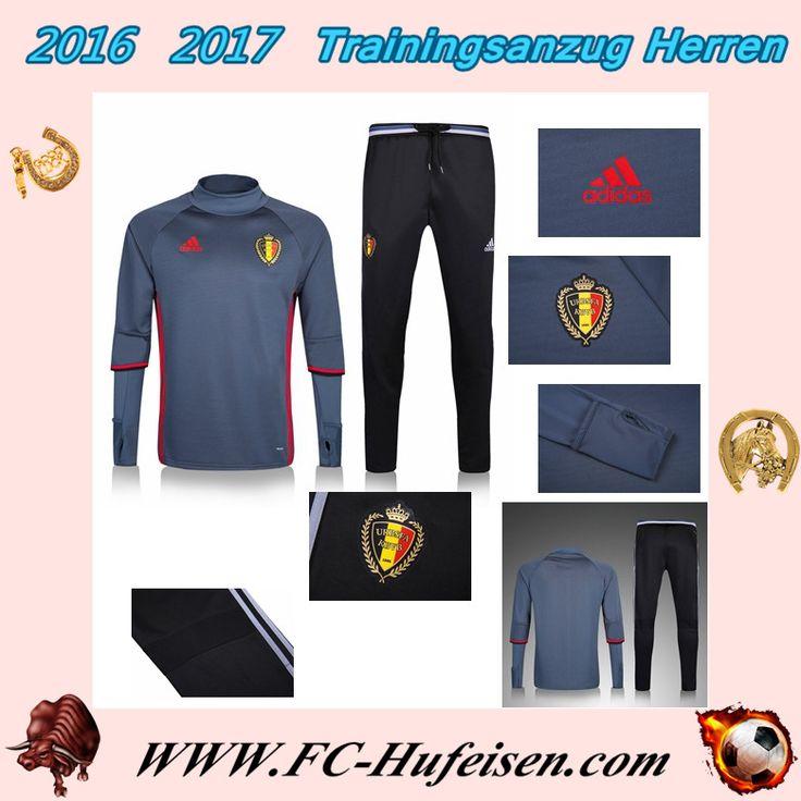 Offizielle Klassiker Trainingsanzüge Fussball Herren Kits Belgien Grau Saison 2016 2017 Billig Outlet Online
