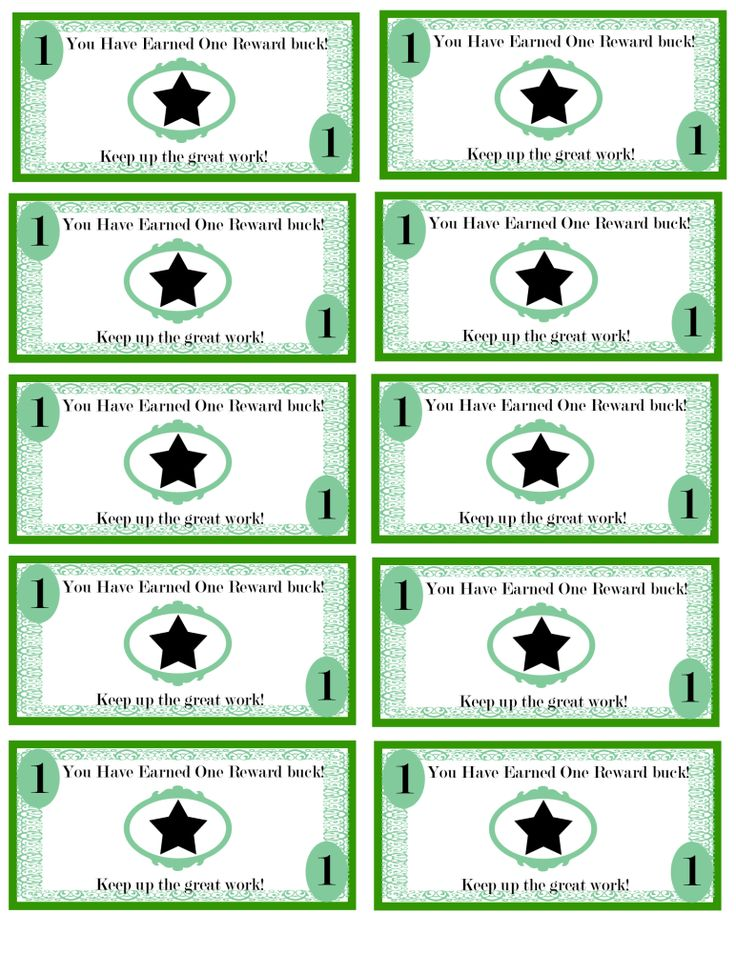 Free printable reward bucks for kids money theme potty for Classroom bucks template