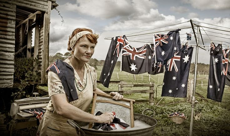 Pauline Hanson scrubbing the Australian flag in a bogan backyard. It doesn't get much better than this. Check out this great Aussie photographer Emma Phillips.