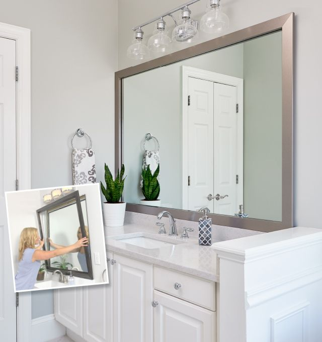 Bathroom Mirror Framed With Crown Molding Large Bathroom Mirrors Bathroom Mirrors Diy Bathroom Mirror Makeover