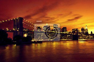 Fotomural Ponte de Brooklyn e Manhattan ao pôr do sol, em Nova York