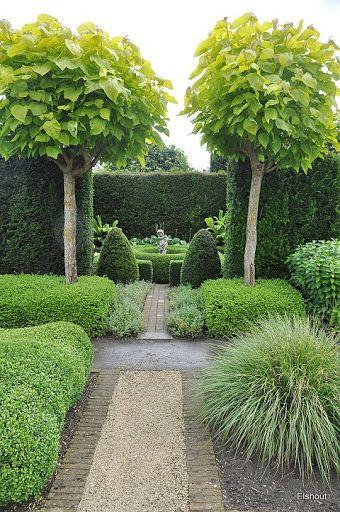 jardin structuré avec une allée de gravier bordée de pierres, des arbres taillés, verdure, nature, buis