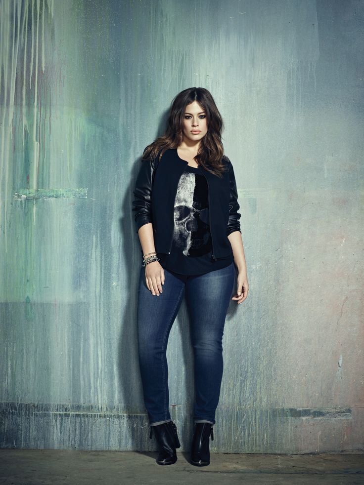 Addition Elle plus size jacket with leather sleeves, skull print tank and reversible jeans.