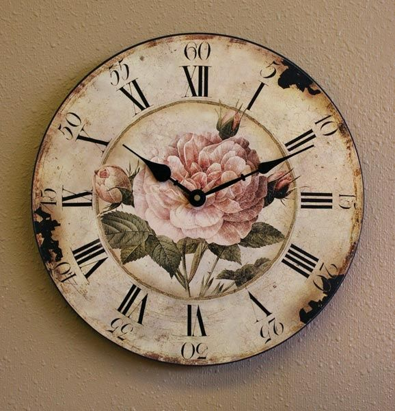shabby chic vintage pink rose round wall clock