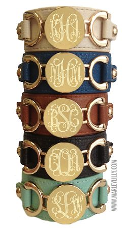 Monogrammed Genuine Leather Cuff Bracelets. Click on bracelets when the website pulls up. The bracelets in this picture are $39.99 each. SO cute!!