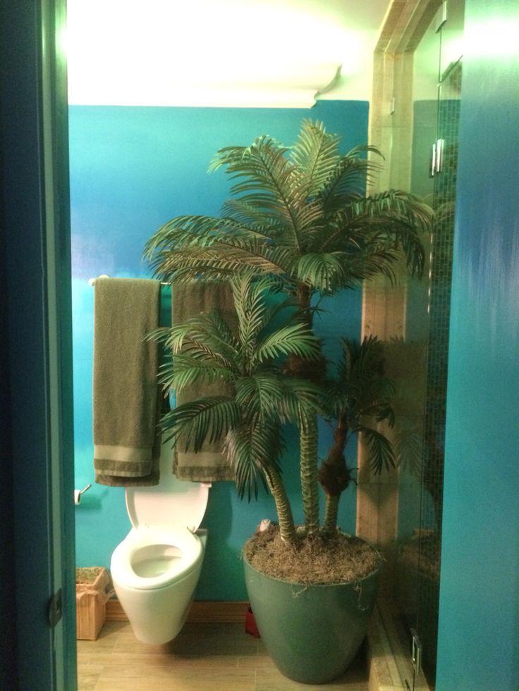 Tropical Bathroom - palm subwoofer - Koehler DTV steam  shower