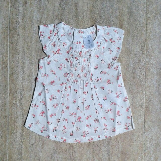 Carter's white flower dress NB (2pcs) , 6bulan (3pcs) 55rb