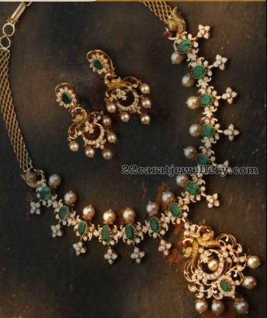 Diamond Emerald Set Peacock Earrings