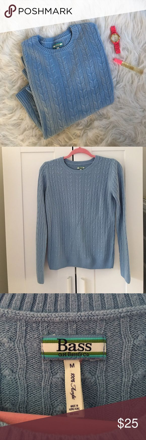 GH Bass & Co. Cable Knit Sweater Cable knit crewneck sweater in a pretty blue by GH Bass & Co. Ribbed sleeve cuffs & hem. 100% acrylic. Size Medium. EUC. Bass Sweaters Crew & Scoop Necks