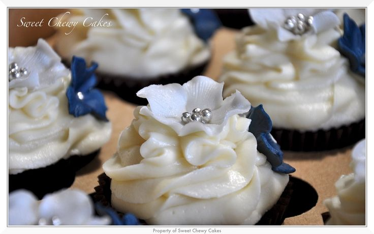 Silver and navy blue cupcake flowers