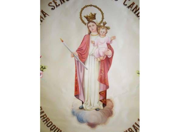 Estandarte para procesión personalizable pintado a mano con imagen de la Virgen / Hand painted religious banner with Virgin image (1/3). http://www.articulosreligiososbrabander.es/estandartes-religiosos-de-semana-santa-personalizables.html