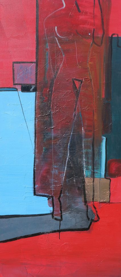 Raw - 2015 Acrylic, ink and copperleaf on stretched canvas, 900 X 2000 AVAILABLE