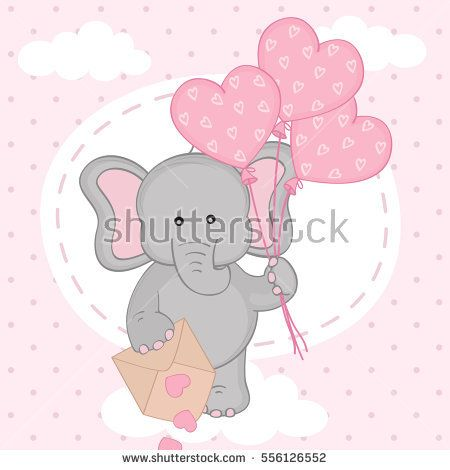 elephant with balloons on cloud - vector illustration, eps