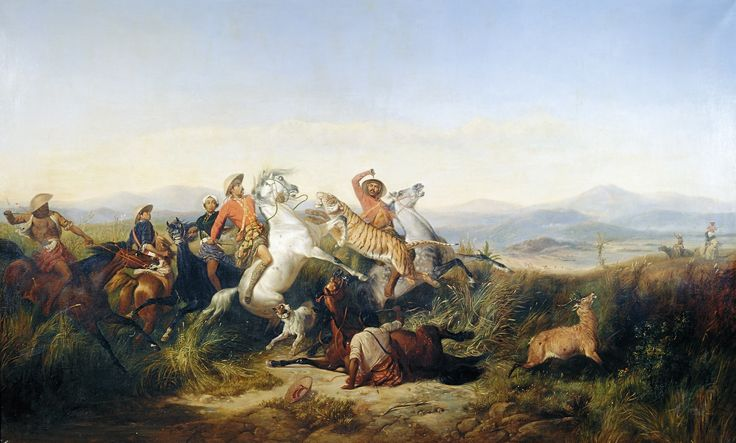 Hunt by Javan Romantic painter Raden Saleh, c. 1851-1880, now in the Mesdag Museum