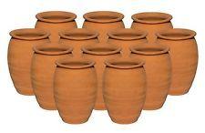(12 Pack) Jarritos/Cantaritos de Barro, Mexican Clay Cups Ethnic Containers 12oz