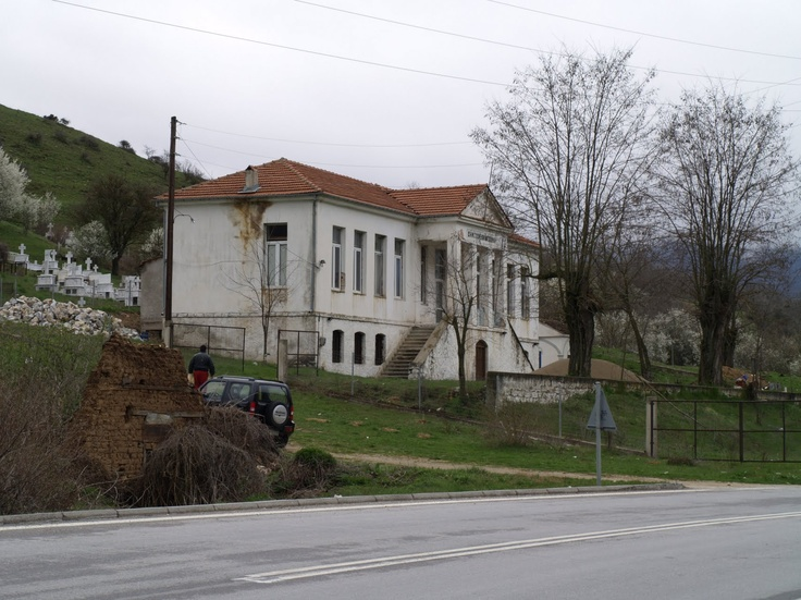 School with cemetery in behind