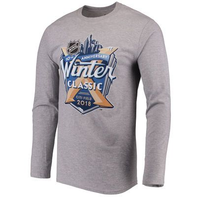 Men's Fanatics Branded Heathered Gray 2018 NHL Winter Classic Event Logo Long Sleeve T-Shirt