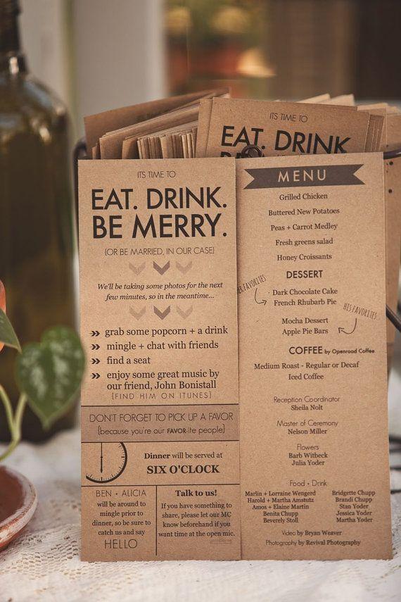 Rustic Kraft Reception Program & Menu  Eat by DreamLoveDesigns, $1.20