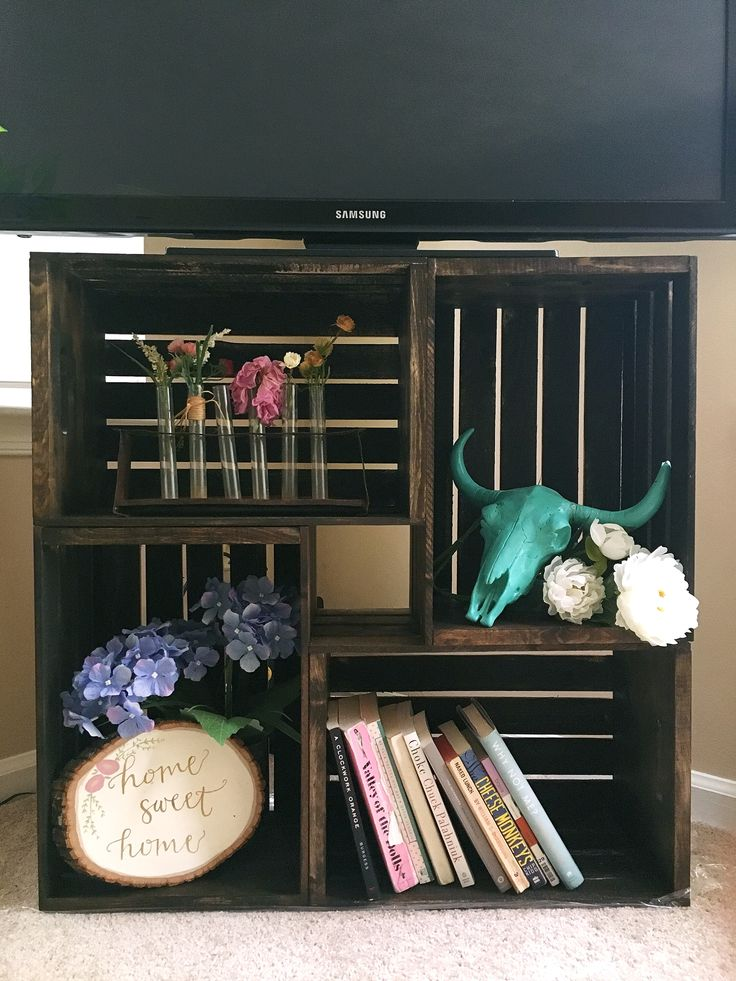 diy wooden crate tv stand / shelf