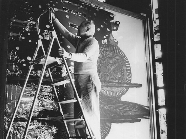 """Frank Malina creating """"Cosmos"""". (1965) lumino-kinetic work. to switch Cosmos on for us. The lights switched on, and immediately the many small electrical motors inside began to turn the painted rotors. For such a giant mechanical piece, it was surprisingly quiet."""