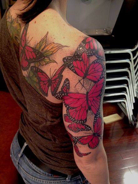 Http Tattoomagz Com Red Butterflies Tattoos Girl Shoulder And Arm Red Butterfly Tattoo Butterfly Tattoo Butterfly Tattoo On Shoulder Butterfly Tattoos On Arm