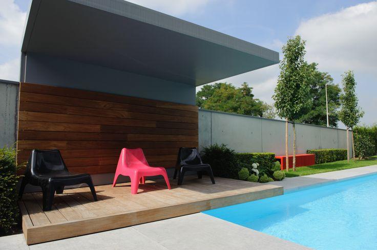 Overdekt terras modern terras strak terras zwembad trv tuinaanleg pinterest modern and home for Modern zwembad
