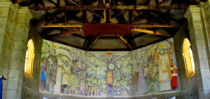 Jean Charlot's mural of the Black Christ in the Ra District of Fiji for some time now. On our way back from Nadi last week, we made it happen! Along King's Road in Naiserelagi village in Ra, there is a sign for St. Francis Xavier's Catholic Mission.