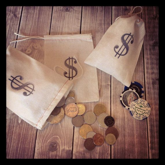 100 money Bags muslin draw string Sacks for party by terbearco
