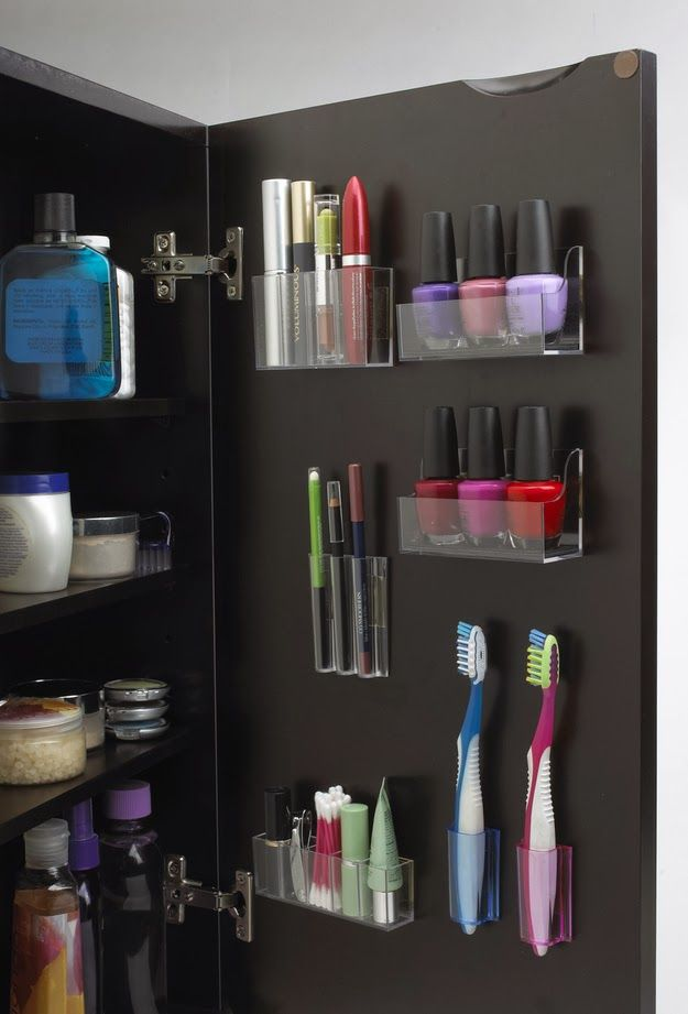 #Bathroom #DIY, increase the storage space in your cabinet by attaching small storage containers on the back of your cabinet door.