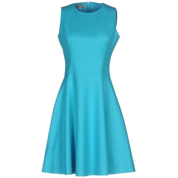 Michael Kors Collection Short Dress ($1,050) ❤ liked on Polyvore featuring dresses, turquoise, stretch dresses, stretchy dresses, blue dresses, short flared dresses and short flare dress