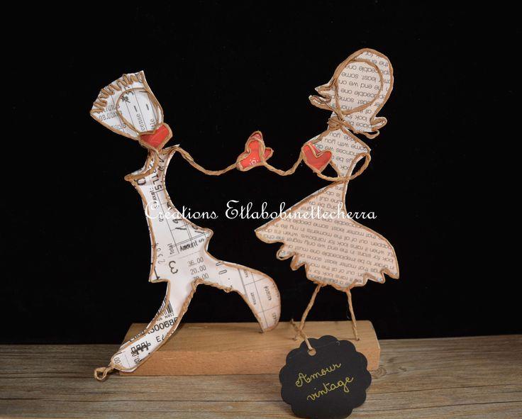 Créations poétiques en ficelle kraft et papier : amour vintage : Accessoires de maison par etlabobinettecherra