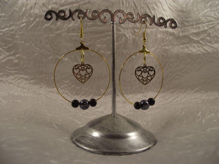 """Boucles d'oreilles créoles dorées """"Petit coeur filigrane"""" : Boucles d'oreille par perles-in-the-sky"""